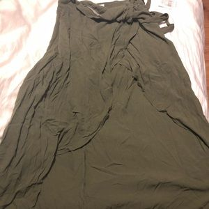 NWT olive green high low skirt